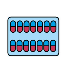 medical pharmaceutical capsules treatment icon vector image