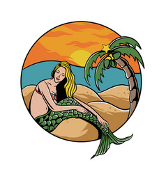 mermaid girl at beach vector image