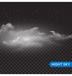 Night isolated realistic transparent clouds vector