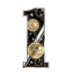 number 1 is one in steampunk style vector image