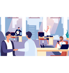 Office routine happy people at work greeting new vector