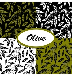 olive ptterns set vector image