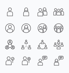 People Icon flat line icons set concept vector