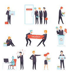 People searching and losing their jobs set vector