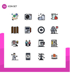 Pictogram set 16 simple flat color filled vector