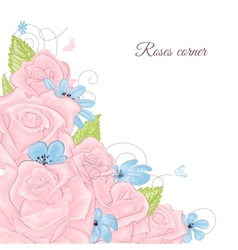 Pink roses bouquet corner decoration over white vector