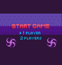 pixel game start choosing page player vector image