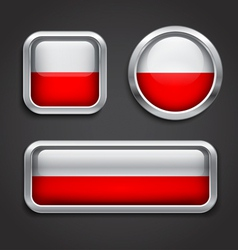 Poland flag glass buttons vector image