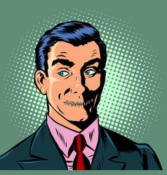pop art man mouth locked censorship secret vector image