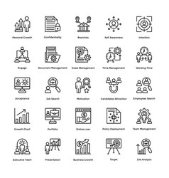 project management line icons set 18 vector image