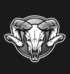 ram skull on a dark background on a dark vector image