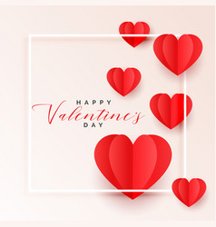 red origami paper hearts valentines day background vector image
