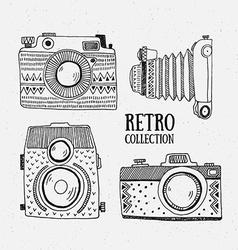 Retro photo cameras set Vintage cameras with vector