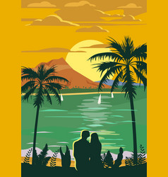 retro vintage style travel poster or sticker vector image