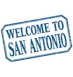 San antonio - welcome blue vintage isolated label vector