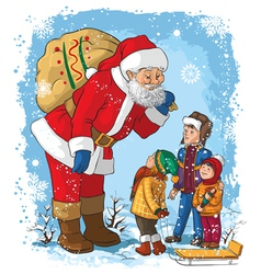 santa with children christmas vector image