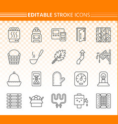 sauna equipment simple black line icons set vector image
