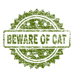 Scratched textured beware of cat stamp seal vector