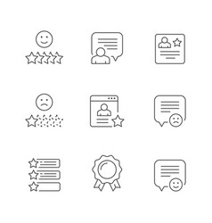 set line icons testimonials vector image