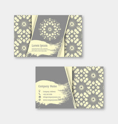 set of business visiting greeting cards with hand vector image