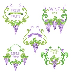 Set of grapes vintage wreathes vector image