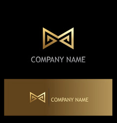 Sharp line letter m gold logo vector