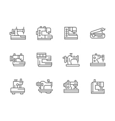 Simple black line sewing equipment icons vector