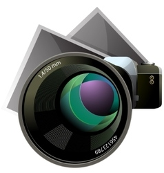 SLR camera with photo sheets vector