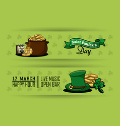 st patricks cartoons banners vector image
