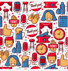 stand up comedy show seamless pattern vector image