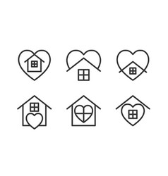 Stay home icons set with heart and home shape vector