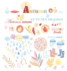 Stok vektor autumn set vector