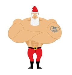 Strong Santa Claus Santa with big muscles Old vector