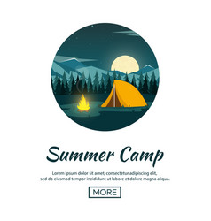 summer camp night camping campfire pine forest vector image