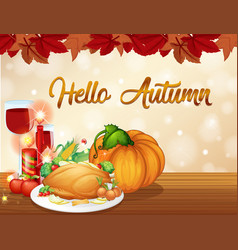 thanksgiving autumn card template vector image