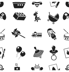 Toys pattern icons in black style Big collection vector