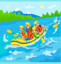 travelers in boat river rafting wild nature vector image