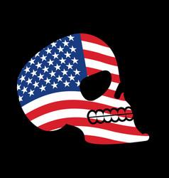 Usa skull head of skeleton and flag of america vector