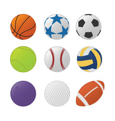 various sport ball set collection with various vector image