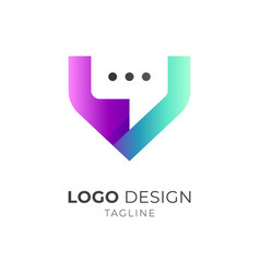 Virtual chat logo vector