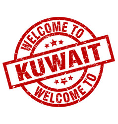 Welcome to kuwait red stamp vector