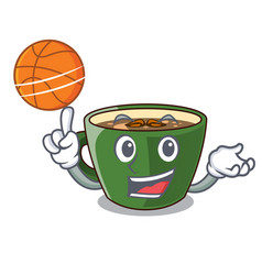 With basketball indian masala tea in cartoon glas vector