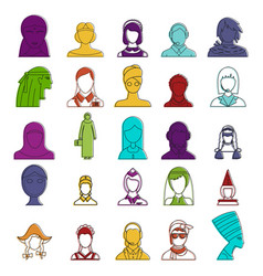 woman avatar icon set color outline style vector image