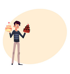 Young man holding birthday cakes getting ready vector
