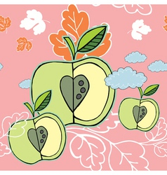 autumn apple background vector image
