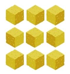 Cartoon isometric sand rock stone game brick cube vector image vector image
