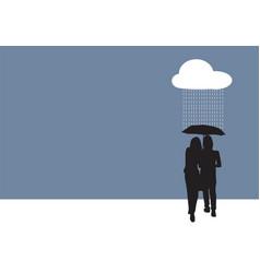 couple sharing an umbrella vector image vector image