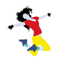 Female Hip Hop Activity Silhouette vector image vector image