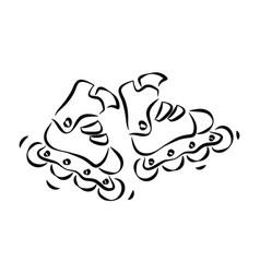 rollerskates and rollerblades doodle style sketch vector image
