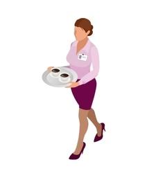 Waitress with tea pot and tea cup Tea waitress vector image